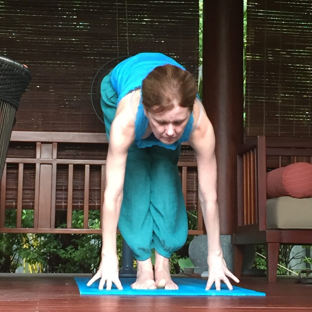 Yoga Instructor Cindy Bradley demonstrating Sun Salutations